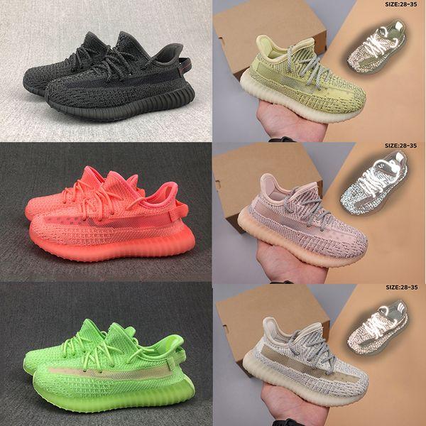 Мода Большой Детская обувь Детская Мальчики Кроссовки Кроссовки Kanye Черная глина