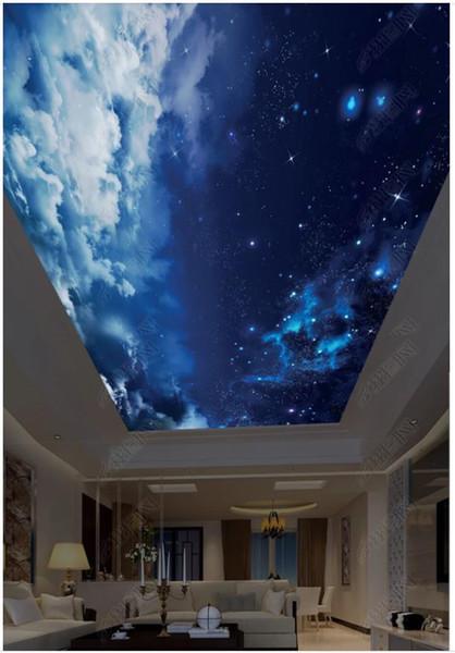 Großhandel Großhandels Innendecken Individuelles Foto 3D Decke Wandtapete  Schöne Sternenhimmel Blauer Himmel Weiße Wolken Kinderzimmer Zenit Wand Von  ...