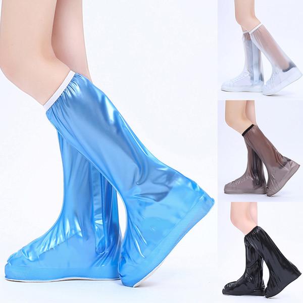 Chaussures imperméables pluie réutilisables couverture bottes de pluie anti-dérapant fermeture à glissière couvre-chaussures de haute qualité noir bleu bleu haute chaussures couvrent