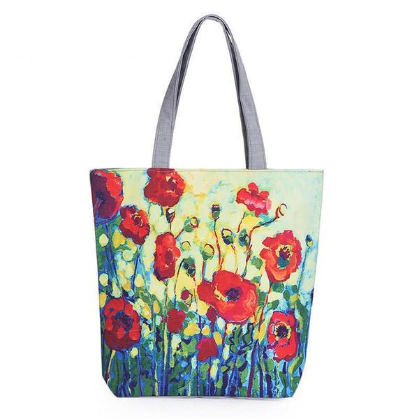 buona qualità Floral Printed Canvas Tote femminile Single Shopping Bags Borse da donna di grandi dimensioni tela spiaggia Borse casual Tote Feminina