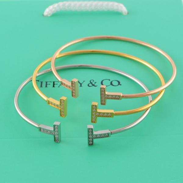 Çift T Bilezik ile Kristal Moda Bileklik ile 18 K Rose Gold Kaplama Kadınlar için Basit Stil Titanyum Çelik Bilezik