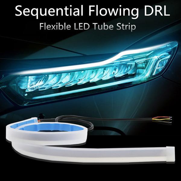 Ultrafine 30cm 45cm 60cm DRL Flessibile LED Tube Style Indicatori di direzione Freno Lampade Luci di marcia diurna Striscia LED a funzione scorrevole