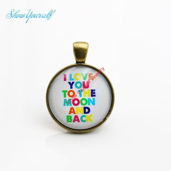 G002 Colorful I Love you to the moon and back Charms Pendants for Cabochon Necklace Jewelry Making DIY Handmade 25mm