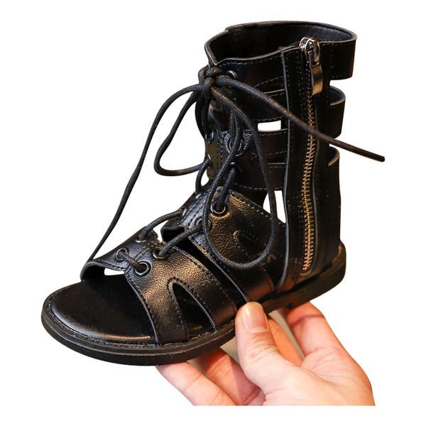 Kinder Stiefel Designer Online Größe 25-30 Mädchen Jungen Kinder Römischen Sommer Günstige Sandalen Schuhe Schnüren Ankle Kinder Rom Für Studenten Verkauf