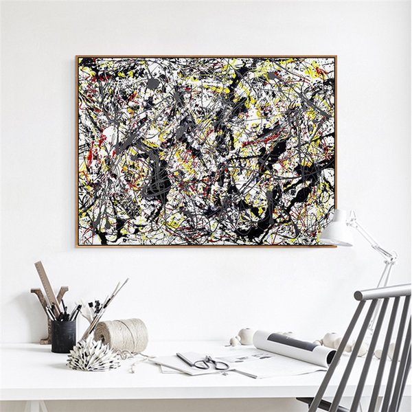 Silver Over Black White Yellow and Red By Jackson Pollock Art Gallery Abstract Painting Oil Painting Drawing Art Unframed Canvas