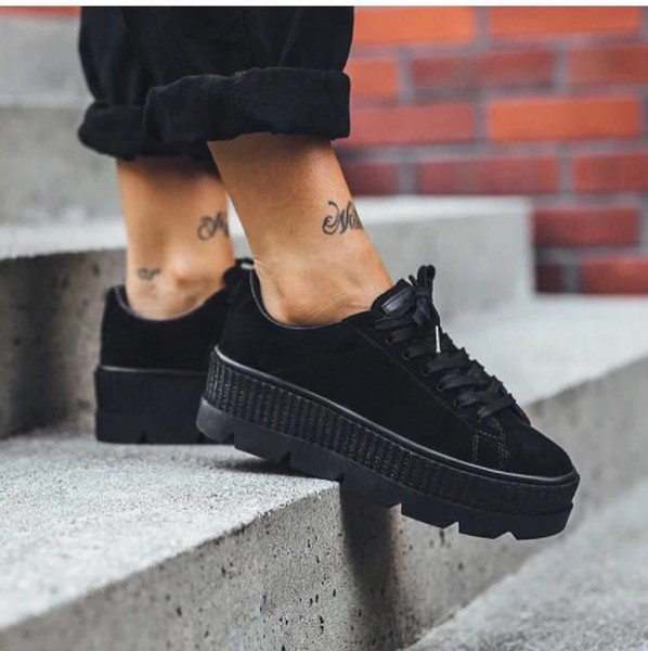 2018 Hot Sale Rihanna Shoes Fenty Suede Creepers Women Casual Shoes Sneakers Size 36-39