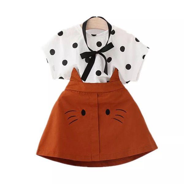 2019 новый детский летний комплект одежды из смешанного хлопка милый модный галстук футболка и юбка для маленькой девочки