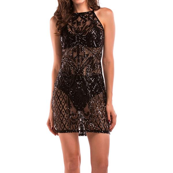 Women Sequins Bodycon Party Dress Hot Black Nightclub Dresses Luxury Backless Party Club Wear Female Sexy Beachwear Clothes