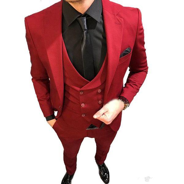 Handsome Groomsmen Wool blend Groom Tuxedos Mens Wedding Dress Man Jacket Blazer Prom Dinner 3 Piece Suit(Jacket+Pants+Tie+Vest) AA143
