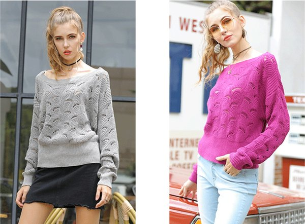 Explosion sweater 2019 autumn and winter new European and American women's bat shirt word collar hollow long-sleeved sweater