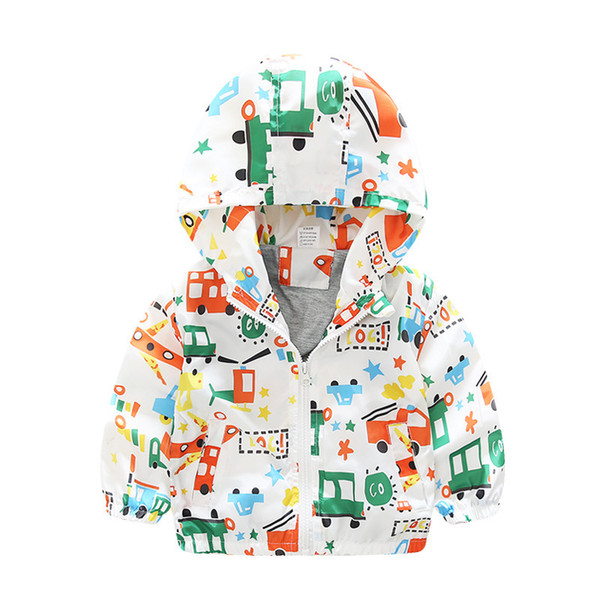 top popular Baby Girls Boys Hooded Jacket Cotton Lined Light Windbreaker Coat 2019 New Kids Cartoon Dinosaur Bear Star Patterns Printed 15 Colors 2021