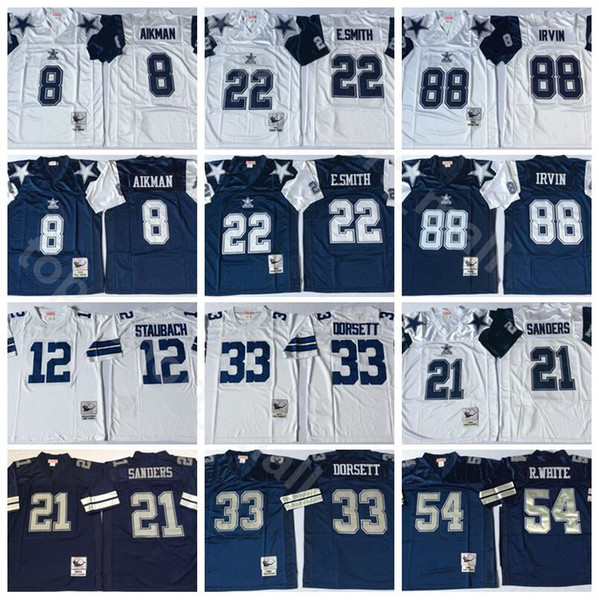 best selling NCAA Vintage Football 21 Deion Sanders 8 Troy Aikman 22 Emmitt Smith 33 Tony Dorsett Jerseys Randy White Michael Irvin Roger Staubach Navy