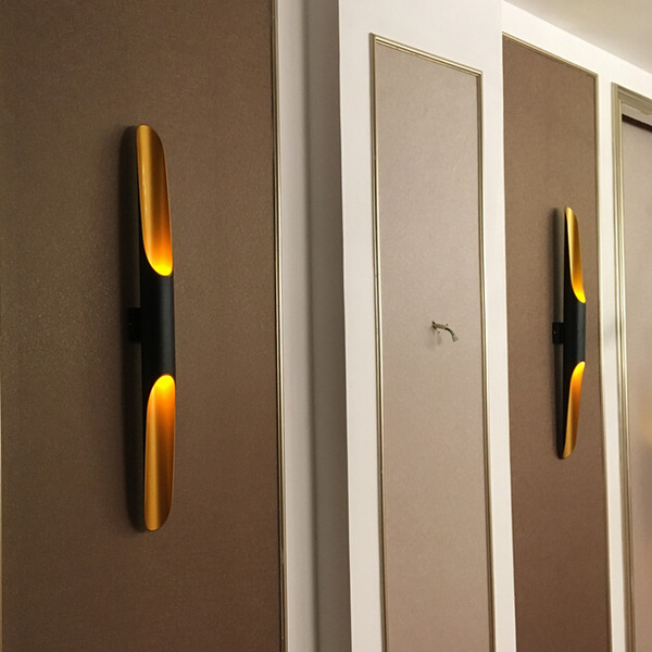 Modern living room wall lights black+gold Aluminum Circular Tube sconces luxury design High quality kitchen restaurant wall lamp