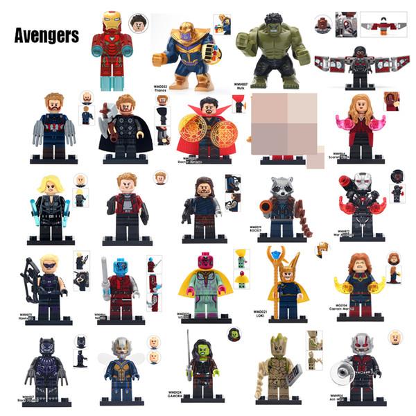 Vendicatori Iron man capitano Hulk Thanos Thor Spider Loki Groot Falcon Dottore strana macchina Guerra Wasp Anti-man gioco di costruzioni