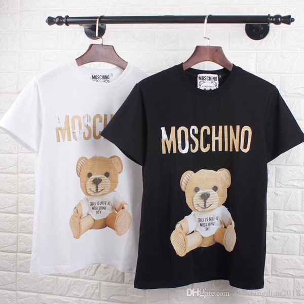 Verão nova tendência de cor cheia de diamantes de perfuração quente t-shirt do urso feminino confortável versão solta de algodão em torno do pescoço de manga curta