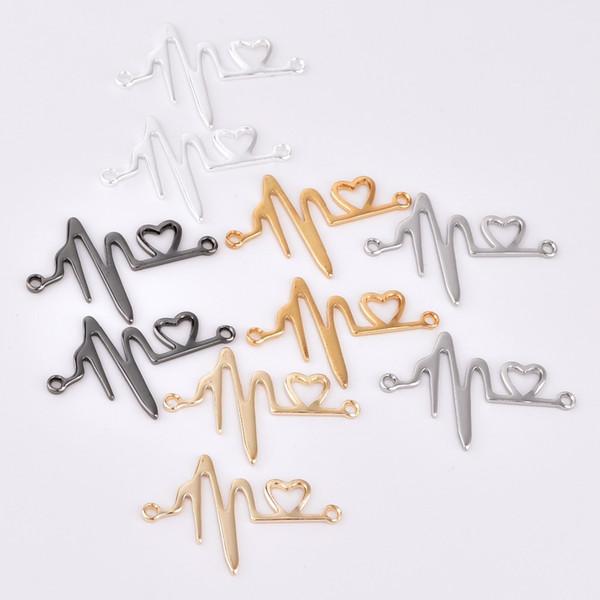 10pcs / lot zhu ru 27 * 18.5mm Charmes Personnalité double trou amour ECG Lovers Heartbeat cadeau forme de coeur Creux Charme Vintage Charms