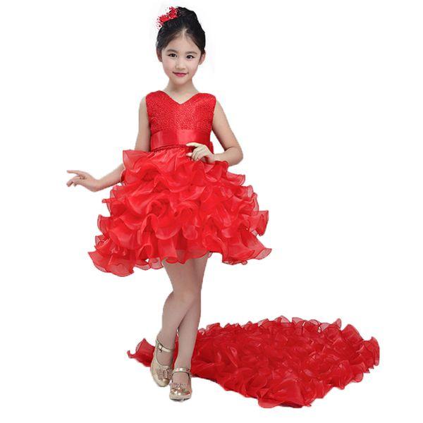 Christmas Clothing Princess Flower Tutu Dress Children Girl Dress For Wedding Teenager Party Prom Dresses J190705