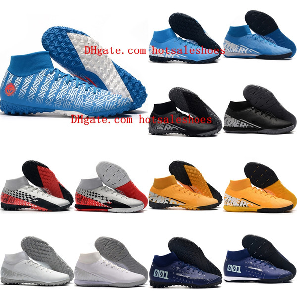 top popular 2020 new arrival mens soccer shoes turf soccer cleats Mercurial Superfly VII Academy TF IC indoor football boots cr7 neymar Tacos de futbol 2020