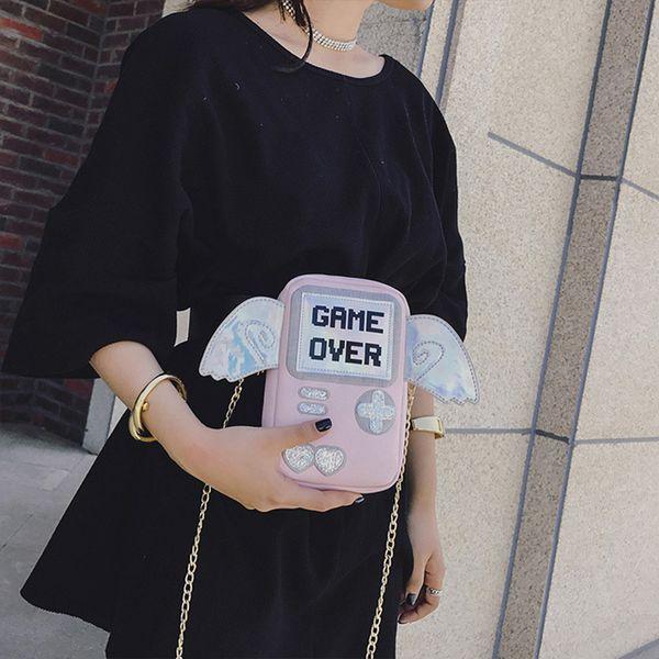 Cute Personality Letter Game Shape Messenger Bag Women Bags Fun Wings Laser Mini Clutch Purse Flap Ladies Chain Shoulder Bags