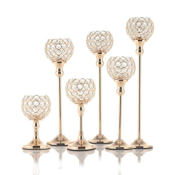 Gold Kristall Teelicht Kerzenhalter Kerzenständer Stehen Für Hochzeit Tischdekoration Vatertag Dekoration, 6 Größen Q190611