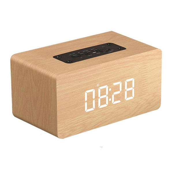 Wooden Bluetooth Speaker 6W Digital Clock Display 1500mAh Battery Subwoofer Music MP3 Player TF Card USB Play Wood Speakers