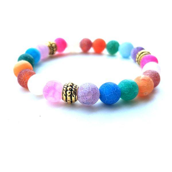 TLT 4 Styles Granite Porphyry Beads Bracelets Natural 8mm Beaded Stone Charm Jewelry Punk Cuffs Bangles Bracelet Accessories K3450