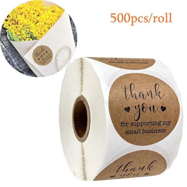 best selling Kraft Paper Tags Thank You for Supporting My Small Business Stickers Seal Labels DIY Christmas Gift Decoration Stickers 500pcs