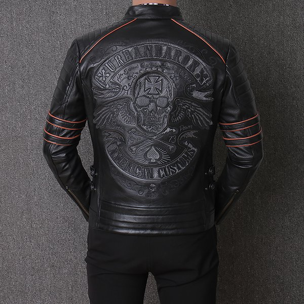 Men's Locomotive Embroidered skull AMERICAN CUSTOMS thick cowhide genuine leather Jacket outdoor motorcycle riding suit coat