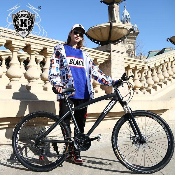 Bicicletta da 21 velocità Mountain Bike 26 pollici in acciaio al carbonio a doppio disco Freni a una ruota Smorzamento della velocità Uomo Donna Studente Bicicletta