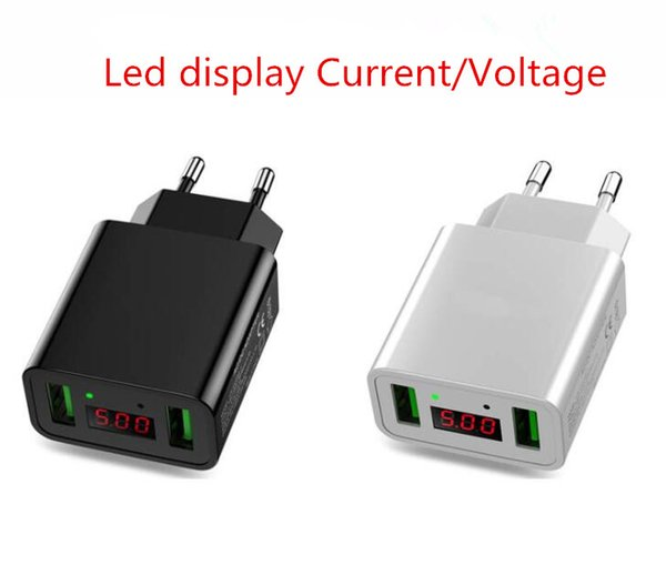 Hot Dual USB 5V 2.2A Led Display Travel USB Charger Power Adapter EU/US Plug Home Office Mobile Phone Charger For Huawei Xiaomi Iphone Ipad