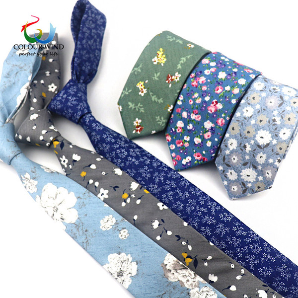 Yiyanyang Floral Narrow Tie Handkerchief Set 100% Cotton Ties 6CM Pocket Square Printing Flower Necktie Classic Skinny Tie