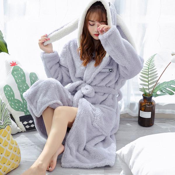 Giyinme pijamalar Kadın Femme Lingeries Mercan Kadife Bornoz Kadınlar Karikatür Sıcak Kapşonlu Robe Casual Tavşan Flanel Kimono Bornozlar
