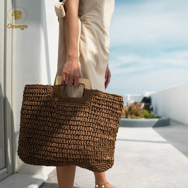 Oswego Straw Handbag Wooden Handle Large Capacity Paper Rope Woven Straw Bag 2019 New Fashion Summer Vacation Travel Beach Bag Y190704