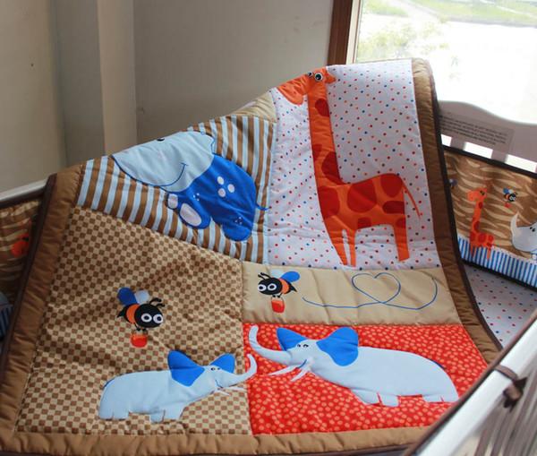 Promotion Crib bedding set Cotton Moose Baby bed linens 6Pcs Cot bedding set Baby padding set Fitted Sheet
