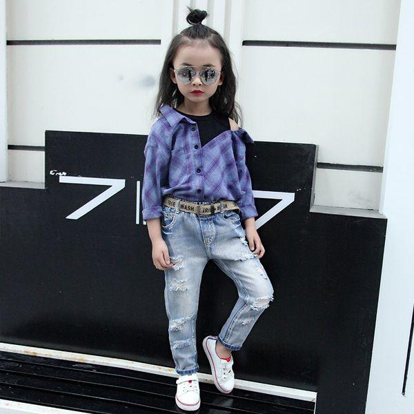 Herbst 2019 Neue Mädchen Jungen Trench Jeans Große Jungen Mädchen Koreanische Leggings