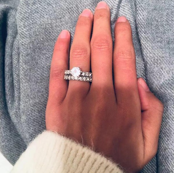 2019 Crystal Silver Exquisite Rings for Women Wedding Engagement Couple Pair Ring Set Cubic Zircon Jewelry Valentine's Day Gift