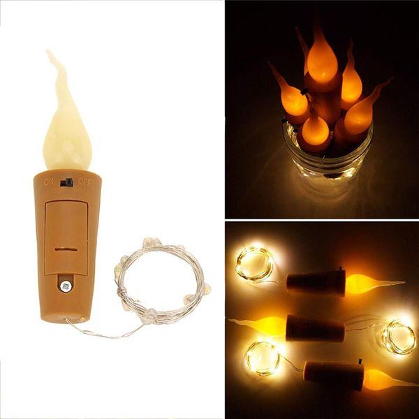 2 M 20 LED Luces de la secuencia de la vela Alambre de plata Garland Tapón de la botella Luces de hadas para el arte de cristal Boda Navidad Decoración de vacaciones de Navidad