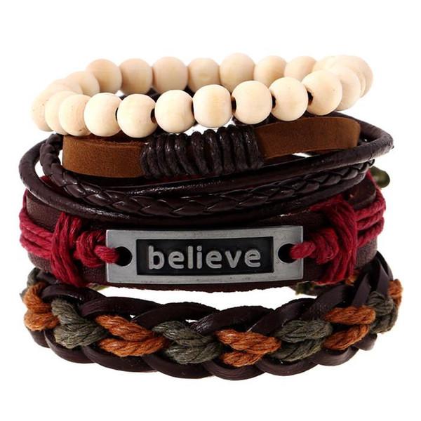 20 styles 4pcs/set Boho Gypsy Hippie Punk Dark Brown Leather Believe Word Tag Charm Wrap Beige Wooden Beads Layers Bracelets Set pksp4-5