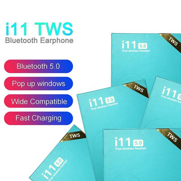 i11 TWS Drahtlose Bluetooth-Kopfhörer Ohrhörer mit Popup-Fenster Twins Mini-Ohrhörer für iPhone X IOS Android i11 5.0 Touch Control Blue Box