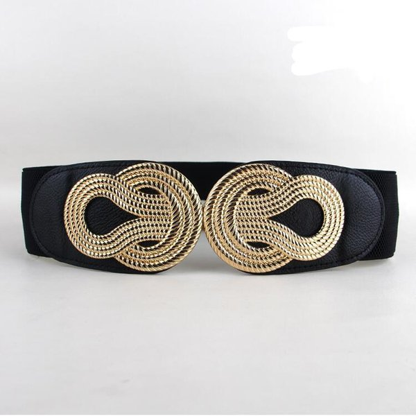 HOT Sale Elastic cummerbunds women trendy newest gold metal big bow buckle cummerbund black PU leather wide waist belts ladies