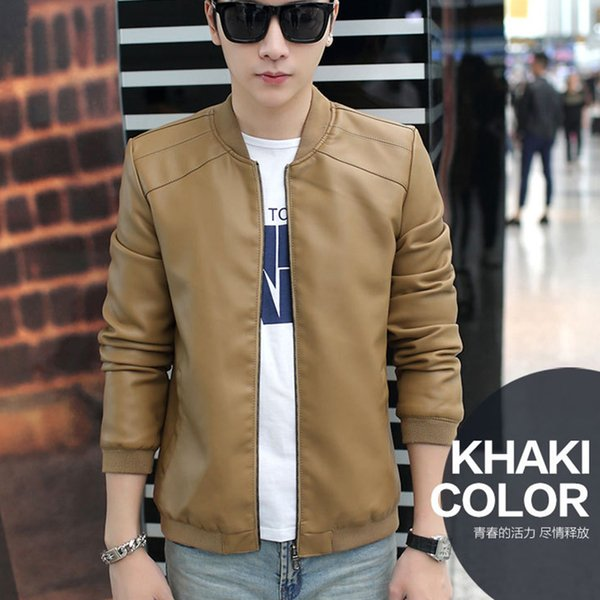 Spring Autumn Thin Baseball Collar Solid Color Simple Pu Male Wild Slim Plus Size Leather Jacket Men C19041701