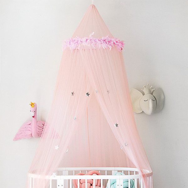 Urijk Stars Printing Mosquito Net For Baby Bed Round Dome Tents Ceiling Hanging Canopy Baby Adults Decor Bed Room