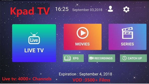 Kpadtv iptv E8 Android tv box S905X with 3500+ Films 4000+ channels France Turkish Netherlands Italy Canada USA IPTV h.265 4k*2k Video