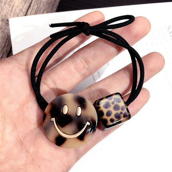 Cartoon Smile Face Hair Rubber Band Leopard Elastic Hair Band for Women Girls Luxury Hair Accessory High Quality