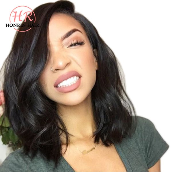 top popular Honrin Hair Full Lace Human Hair Wig Wavy Short Wave Natural Wave Pre Plucked Hairline Brazilian Virgin Hair 150% Density Lace Front Wig 2019