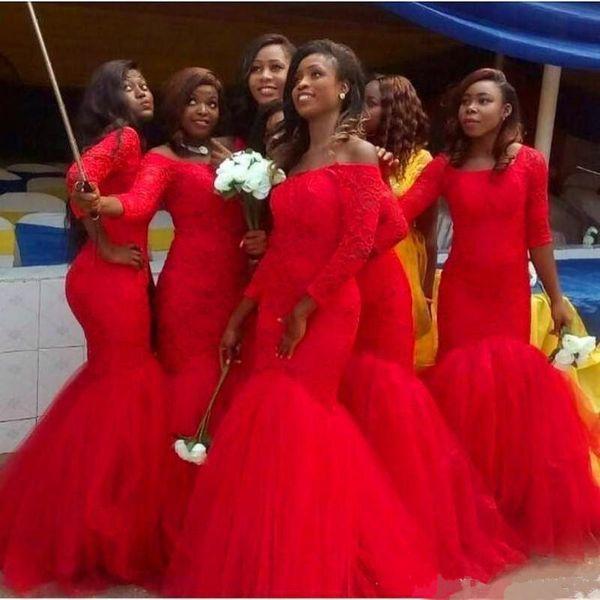 África do sul vermelho sereia vestido de dama de honra do ombro 3/4 manga Lace apliques de casamento convidado vestido de tule inferior Prom desgaste