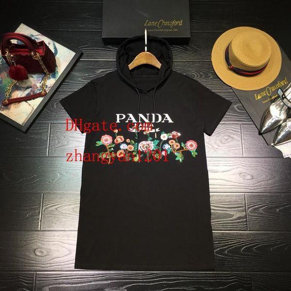 Vestidos de verão da marca t-shirt das mulheres plus size dress senhoras vestidos casuais mulheres com capuz bordado de Algodão com chapéu de saia roupas femininas
