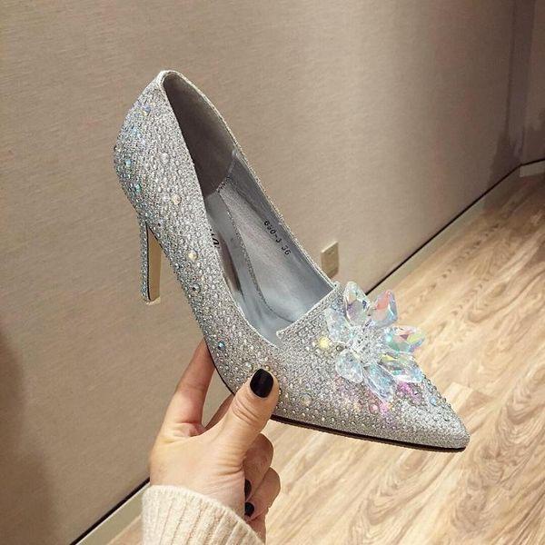 2019 Women Crystal Shoes Bridal Rhinestone Wedding Shoes Ladies Diamond High Heels Sexy Pumps Prom Party Shoes Q-235