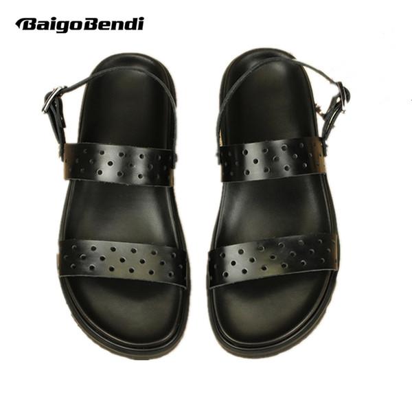 ABD 11 12 13 Büyük Boy Ayak Bileği Kayışı GERÇEK Deri Erkek Cut-çıkışları Sandalet Rahat Üst-Thongs Yaz Plaj Ayakkabı
