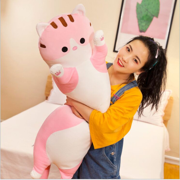 top popular 50cm 70cm 90cm Hot selling Long lovely cat pillow cute cat plush toys Birthday present Sofa cushion for leaning on 2020